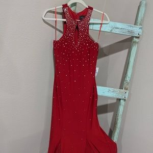 Stunning Red Gown with Rhinestones